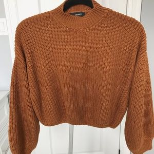 Forever21 Balloon Sleeve Crop Sweater